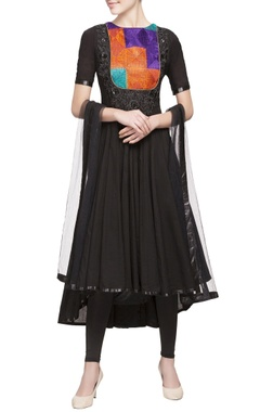 black embroidered yoke anarkali set