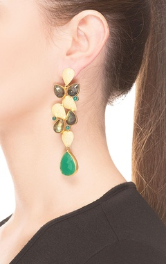 Green & Grey rain drop jhumkas
