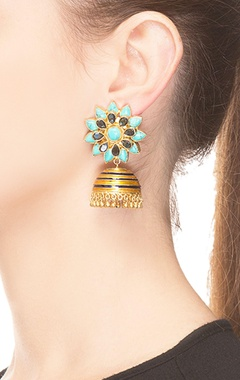 Gold & blue floral jhumkas