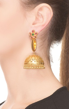 yellow & green studded jhumkas