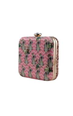 Pink shrinathji printed clutch