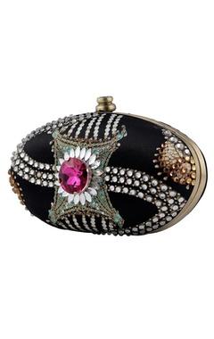 Black polki oval clutch
