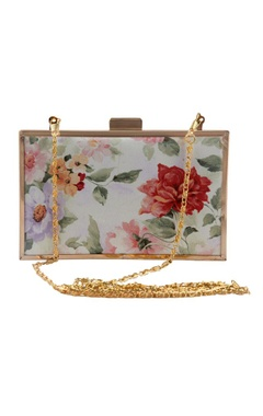 ivory floral rectangular clutch