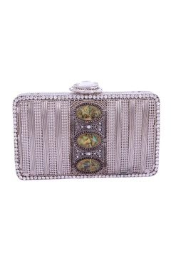 Silver & green stones embellished clutch