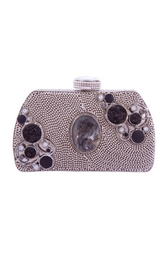 Silver girl carved stone embellished clutch