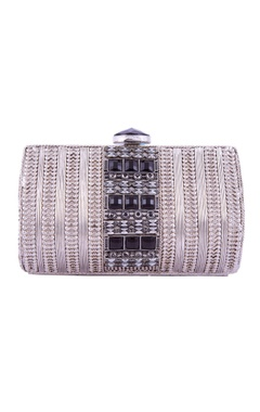 Silver & black floral pattern clutch