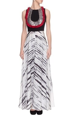 White & black embellished dress