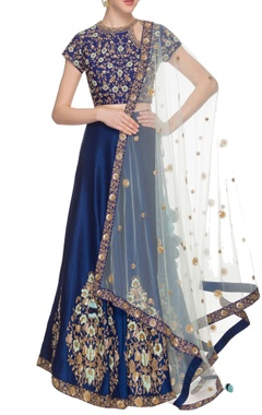 dark ink blue & sky blue lehenga set