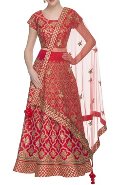 red sequin embroidered lehenga set