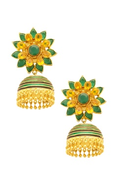 Gold & green floral jhumkas