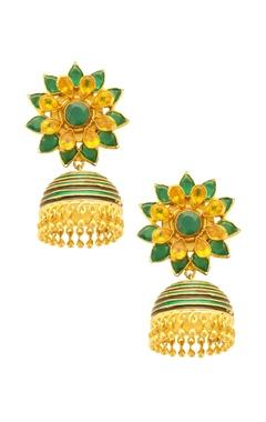 gold & green floral jhumkas