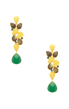 Mehtaphor Green & Grey rain drop jhumkas