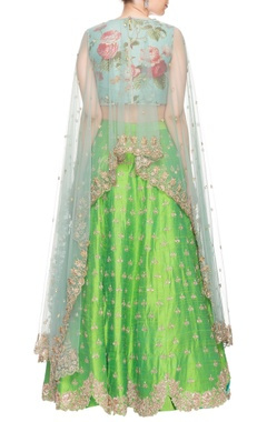 powder blue  cape with green embroidered lehenga