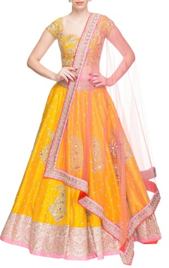 Yellow & rose pink floral embroidered lehenga set