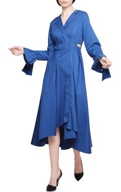 Manika Nanda Yale blue blended cotton high low coat style midi dress
