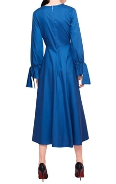 Yale blue blended cotton high low coat style midi dress