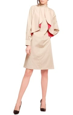 Manika Nanda Beige blended cotton ruffled straight cut dress