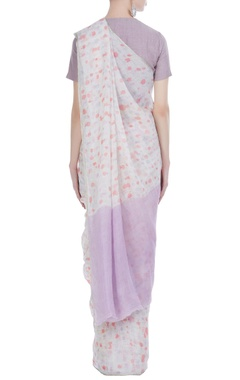 Handwoven linen sari with batik work