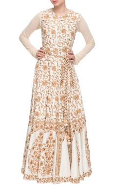 White anarkali with embroidered jacket.