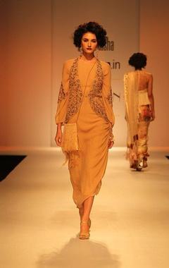 Beige draped dress with zardosi embroidered jacket