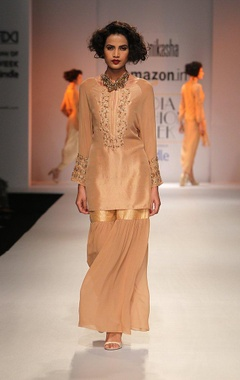 beige zardosi embroidered kurta with sharara
