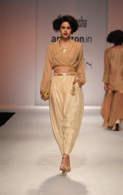 beige embroidered wrap blouse with cream dhoti pants
