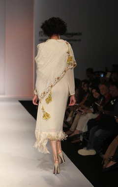 White fringed dress with zardosi embroidered dupatta