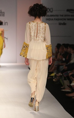 white embroidered and floral printed blouse with dhoti pants