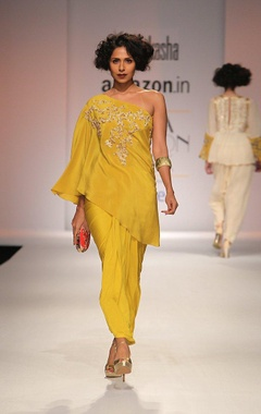 mustard yellow embroidered kaftan with draped skirt