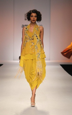mustard yellow floral printed top with dhoti pants