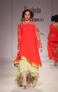 scarlett red flared kurta with cream fringed skirt