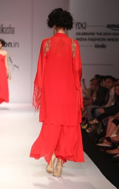 scarlett red kurta with matching palazzos
