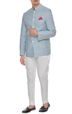 Arjan Dugal White & blue khadi cotton chequered bandhgala