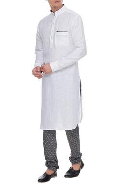 Arjan Dugal White & dark grey linen kurta with ikat churidar