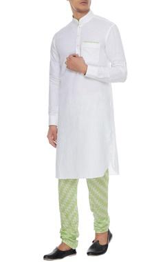 Arjan Dugal White & neon green linen kurta with ikat churidar