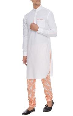 Arjan Dugal White & orange linen kurta with ikat churidar