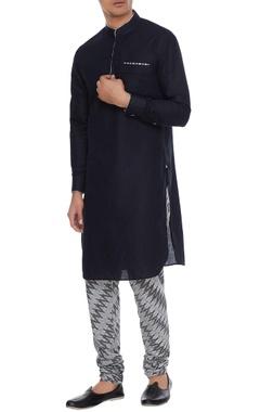 Arjan Dugal Black & grey linen kurta with ikat churidar