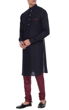 Arjan Dugal Black & maroon linen kurta with silk printed churidar