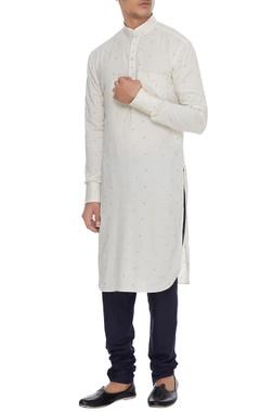 Arjan Dugal Off -white & blue cotton printed kurta with churidar