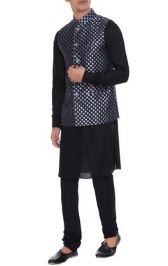 Arjan Dugal Navy blue chanderi banarasi & silk blend nehru jacket with kurta & churidar