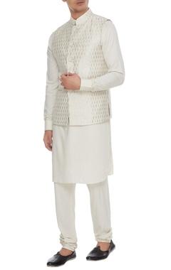 Arjan Dugal Beige chanderi banarasi & silk blend nehru jacket with kurta & churidar