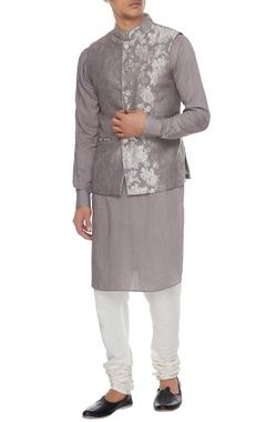 Arjan Dugal Dark grey chanderi banarasi & silk blend nehru jacket with kurta & churidar