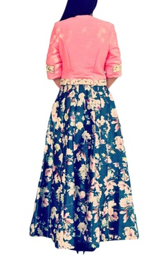 pink embroidered jacket with blue floral printed lehenga