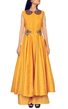 Haldi yellow embroidered kurta with palazzos