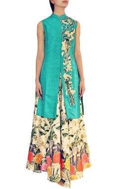 Turquoise bird embroidered kurta with floral lehenga