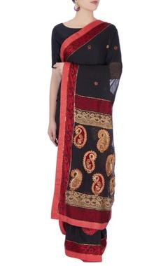 Black & red sari in zardozi embroidery