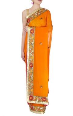 Saffron orange sari with floral border