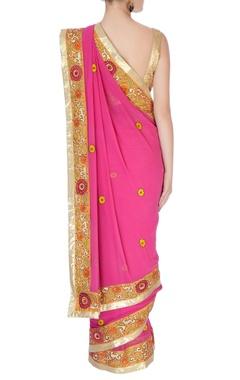 Pink sari with floral border