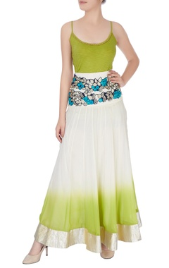 White & green skirt in floral embroidery & spaghetti top