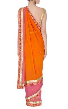 Pink & orange sari in thread embroidery